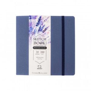 Скетчбук для акварели 20л, 190х190мм, 200гр,синий Малевичъ Nature