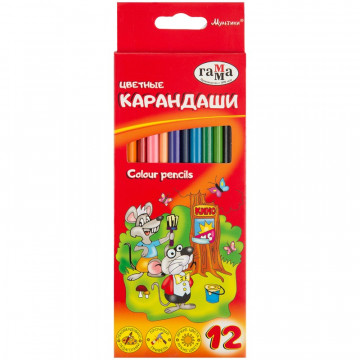 Карандаши цветные 12цв 3-гран, Гамма Мультики