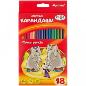 Карандаши цветные 18цв 3-гран, Гамма Мультики