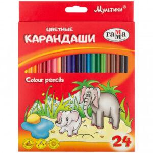 Карандаши цветные 24цв 3-гран, Гамма Мультики