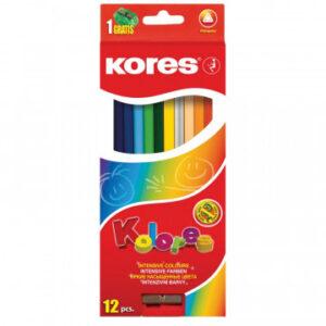 Карандаши цветные 12цв 3-гран,точилка Kores