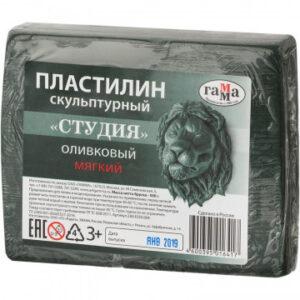 Пластилин Скульптурный Гамма Лицей оливковый, мягкий, 0,5 кг