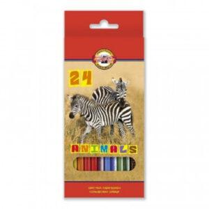 Карандаши цветные 24цв 6-гран Koh-I-Noor Animals