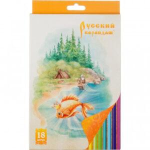 Карандаши цветные набор 18цв 6-гран Русский