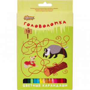 Карандаши цветные 18 цв 6-гран №1School Головоломка