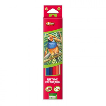 Карандаши цветные 6цв 6-гран №1School ColorPics + точилка