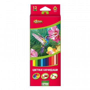 Карандаши цветные 12цв 3-гран №1School ColorPics + точилка