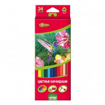 Карандаши цветные 24цв 3-гран №1School ColorPics + точилка