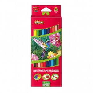 Карандаши цветные 24цв 12шт 3-гран, двустор №1School ColorPics + точилкой