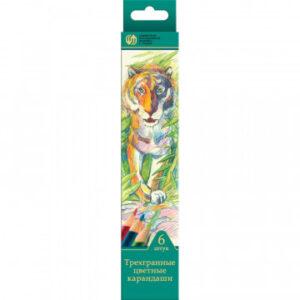 Карандаши цветные 6цв 3-гран Сибирский Кедр, Дикие кошки