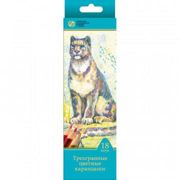 Карандаши цветные 18цв 3-гран Сибирский Кедр, Дикие кошки