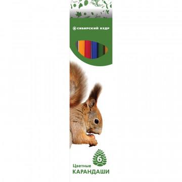 Карандаши цветные 6цв 6-гран Сибирский Кедр, Звери