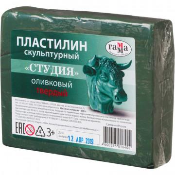 Пластилин скульптурный Гамма Лицей оливковый, твердый, 0,5 кг.
