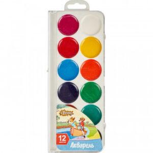 Краски акварельные №1 School Шустрики 12 цв б/кисти пластик