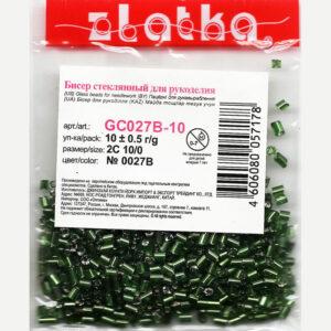 """Бисер """"Zlatka"""" РУБКА GC 10/0 №0027В темно-зеленый. 10г."""