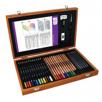 Набор карандашей и аксессуаров Derwent Academy, 34 предм., дерев. коробка