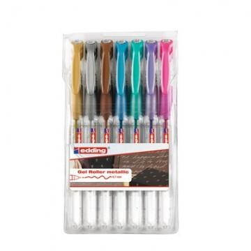 Ручки гелевые Edding 2185/7S металлик набор 7 шт.