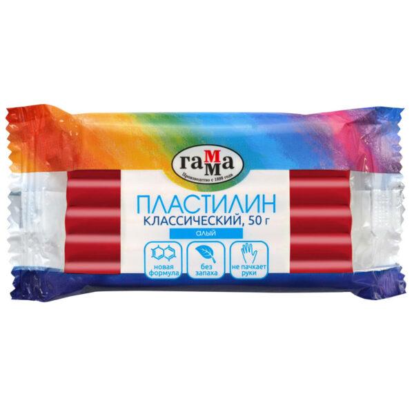 """Пластилин Гамма """"Классический"""", алый, 50г"""