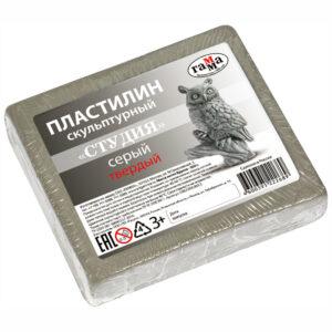 "Пластилин скульптурный Гамма ""Студия"", серый, твердый, 500г"