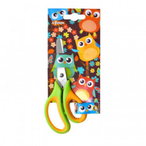 Ножницы детские №1School 13,5 см, Веселые совята резиновые ручки