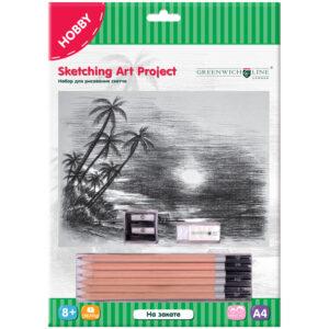 """Набор для рисования скетча Greenwich Line """"На закате"""", A4"""