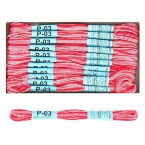 """Нитки для вышивания """"Gamma"""" мулине меланж 100% хлопок 8 м, P-03 яр.розовый-св.розовый"""