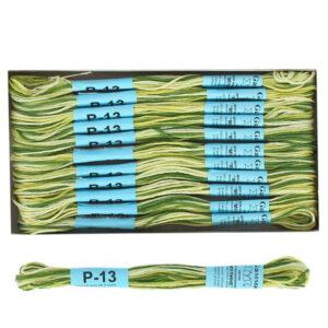 """Нитки для вышивания """"Gamma"""" мулине меланж 100% хлопок 8 м, Р-13 т.зеленый-яр.желтый"""