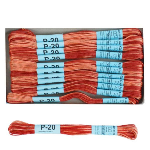 """Нитки для вышивания """"Gamma"""" мулине меланж 100% хлопок 8 м, Р-20 охра-бл.розовый"""