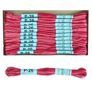 """Нитки для вышивания """"Gamma"""" мулине меланж 100% хлопок 8 м, Р-26 т.малиновый-св.розовый"""