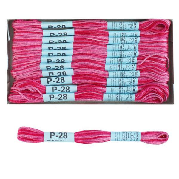 """Нитки для вышивания """"Gamma"""" мулине меланж 100% хлопок 8 м, Р-28 яр.малиновый-розовый"""