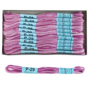 """Нитки для вышивания """"Gamma"""" мулине меланж 100% хлопок 8 м, Р-29 лиловый-св.розовый"""