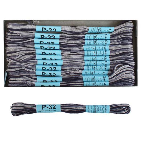 """Нитки для вышивания """"Gamma"""" мулине меланж 100% хлопок 8 м, Р-32 т.серый-св.серый"""