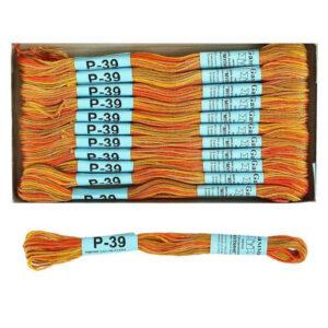 """Нитки для вышивания """"Gamma"""" мулине меланж 100% хлопок 8 м, Р-39 песочный-желтый-оранжевый"""