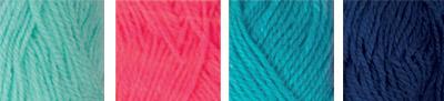 """Пряжа """"Hobbius"""" Simple 100% акрил 4 х 25 г 66 м ± 3 м №06 св.розовый-бирюзовый-голубой-синий"""