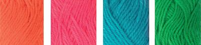 """Пряжа """"Hobbius"""" Simple 100% акрил 4 х 25 г 66 м ± 3 м №02 оранжевый-св.розовый-голубой-зеленый"""