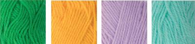 """Пряжа """"Hobbius"""" Simple 100% акрил 4 х 25 г 66 м ± 3 м №04 зеленый-желтый-сиреневый-бирюзовый"""