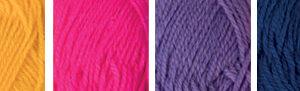"""Пряжа """"Hobbius"""" Simple 100% акрил 4 х 25 г 66 м ± 3 м №05 желтый-розовый-фиолетовый-синий"""