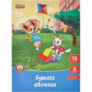 Бумага цветная №1School, 16л. 8цв., А4 Шустрики