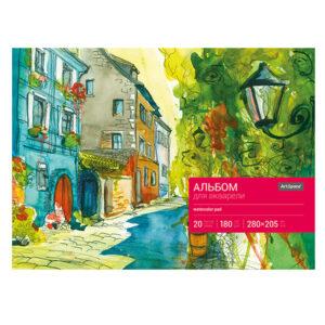 Альбом для акварели 20л., А4, на склейке ArtSpace, блок рис.бум., 180г/м2